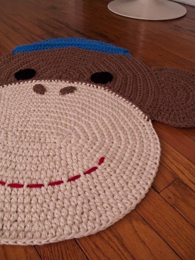 CROCHET SOCK MONKEY RUG - for a little one with a sock monkey room ...