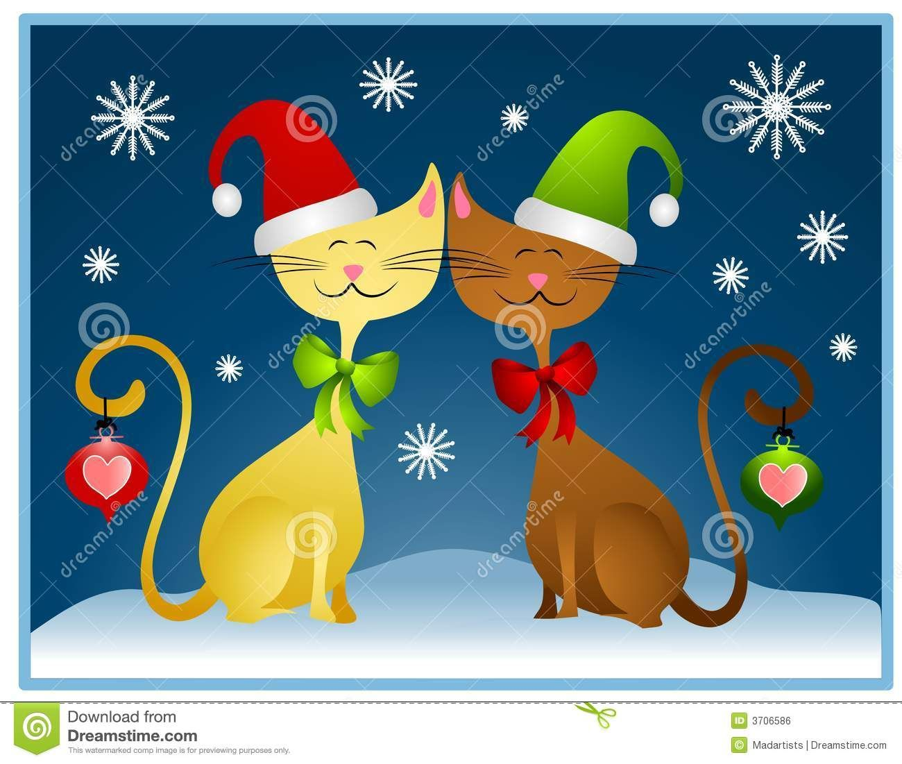 Cartoon Christmas Cats Holiday Card Christmas Cats Christmas Paintings Cat Holidays