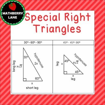 Special Right Triangles 30 60 90 And The 45 45 90 Mathberry Lane