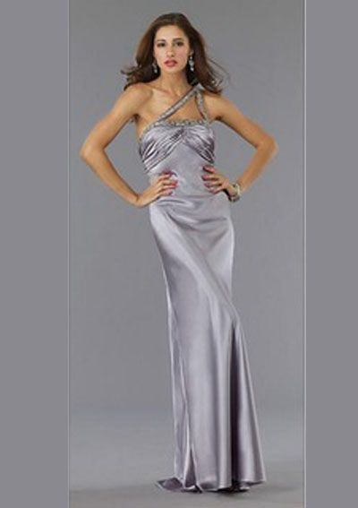 Sheath One-Shoulder Sweep Train Charmeuse Long Evening Dresses,$121.99