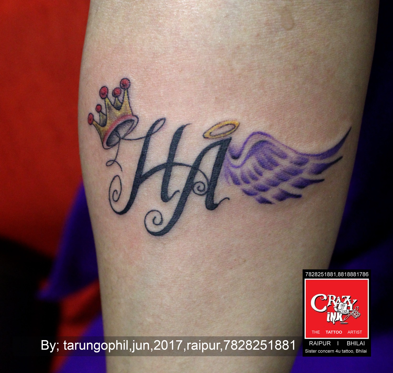 75ea1462ed67b initial name tattoo by tarun gohil at crazy ink tattoo studio in raipur  #tattooart #crazyink #initialname #name #tattooartist #raipur #feather  #wings ...