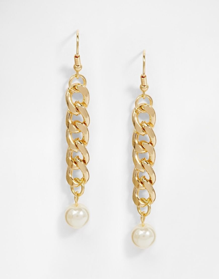 Pieces Enija Chain Faux Pearl Drop Earrings