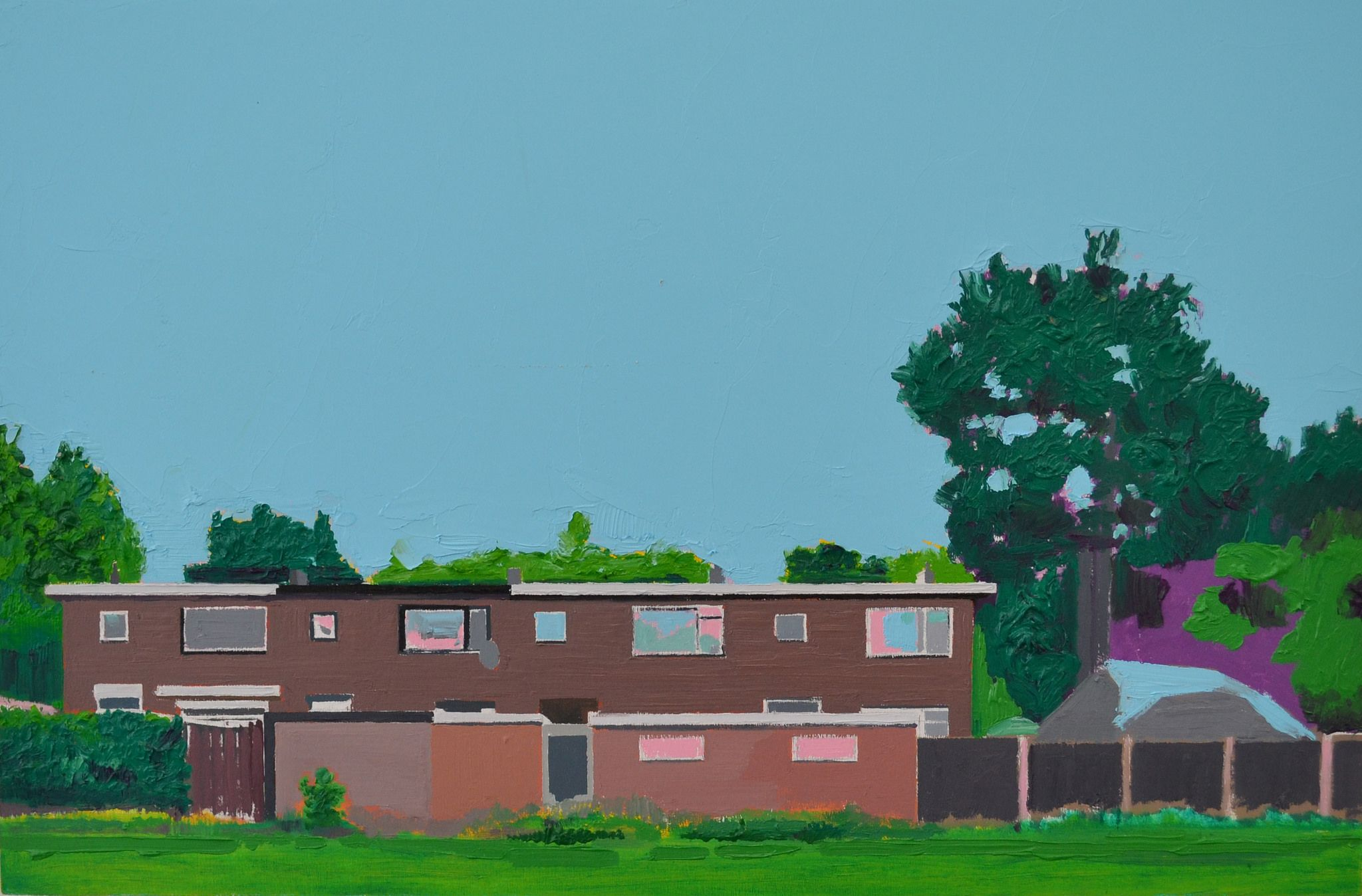 Albert Zwaan - Townhomes in Krispijn, 2017. Oil on wood, size: 40x60cm | www.albertzwaan.nl