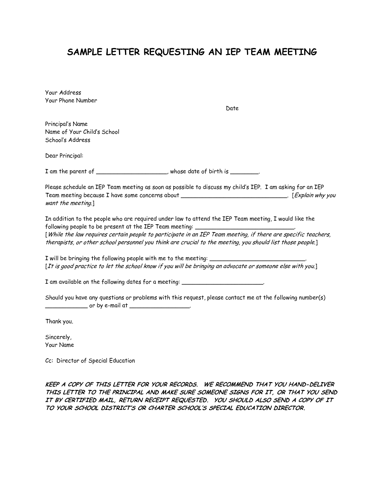 Parent Meeting Letters | SAMPLE LETTER REQUESTING AN IEP TEAM MEETING