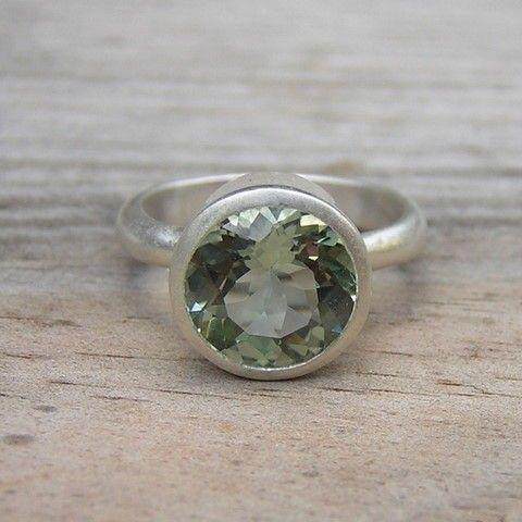 Diamond Alternative Green Amethyst Round Gemstone in Matte Silver Bezel Setting Handmade Boho Ring Prasiolite Ring Mint Green Ring