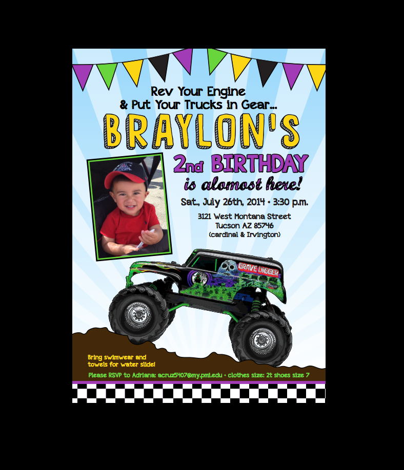Character Invitations Monster truck birthday Birthdays and