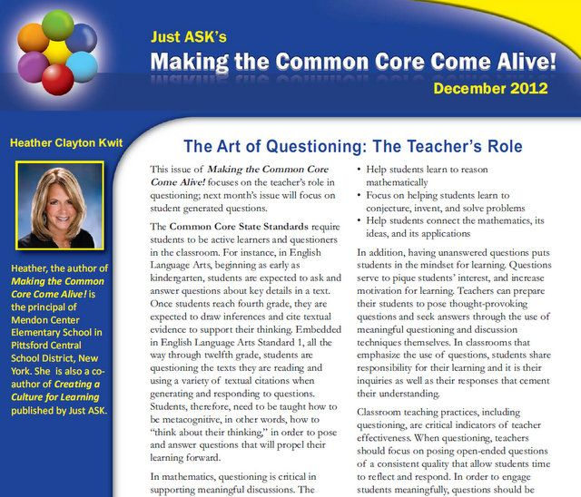 Volume I, Issue III The Art of Questioning The Teacher\u0027s Role
