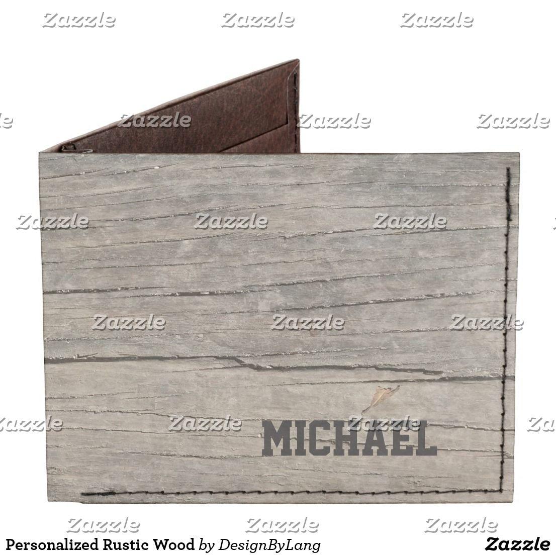 Personalized Rustic Wood Billfold Wallet