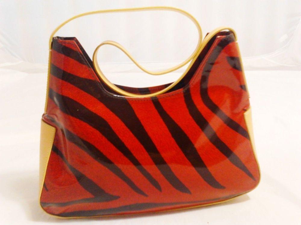 Franceso Biasia Shoulder Bag Purse Handbag Red Black Zebra Print