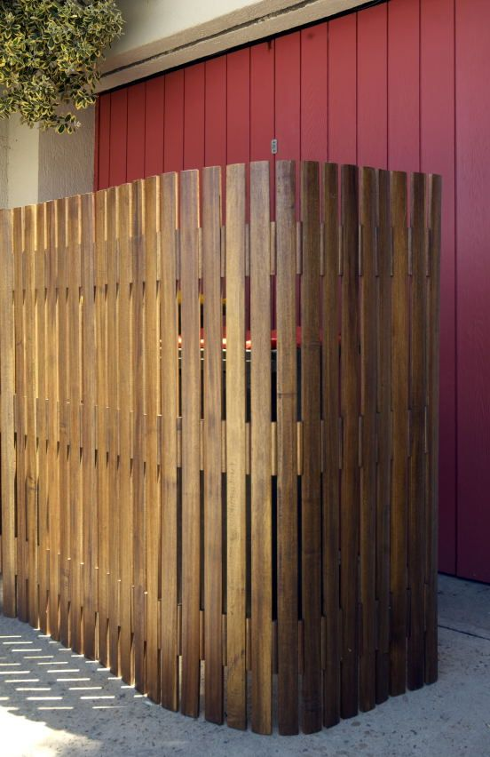 Acacia timber slat screen - great to hide rubbish bins