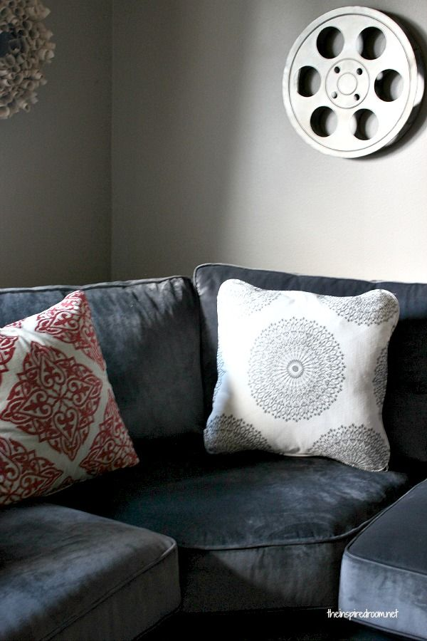 {Fall Nesting} Media Room Update! The New Sectional Has Arrived! - The Inspired Room #mediarooms