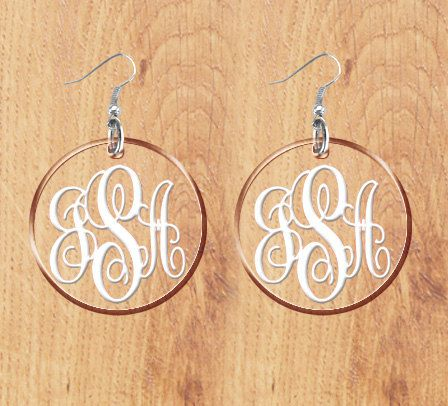 Monogram Earrings Transparent See through Acrylic by vitabravo1. , via Etsy.