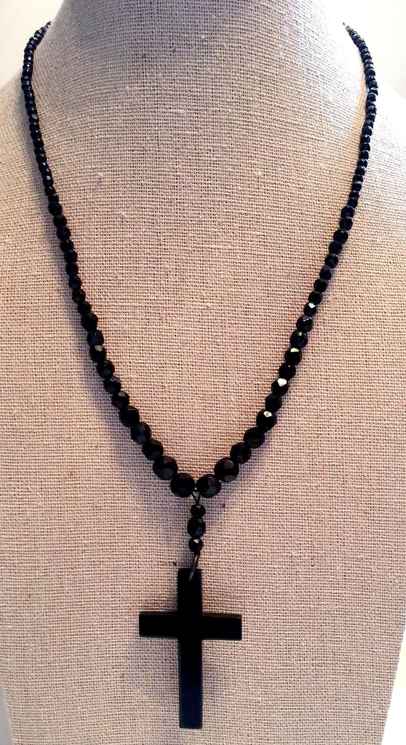 Vintage Black Cross Beaded Necklace, Religious Mourning Rosary Jewelry, Gifts #rosaryjewelry