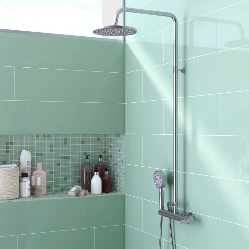 Faïence mur forte uni vert d'eau brillant l.20 x L.50.2 cm, Loft