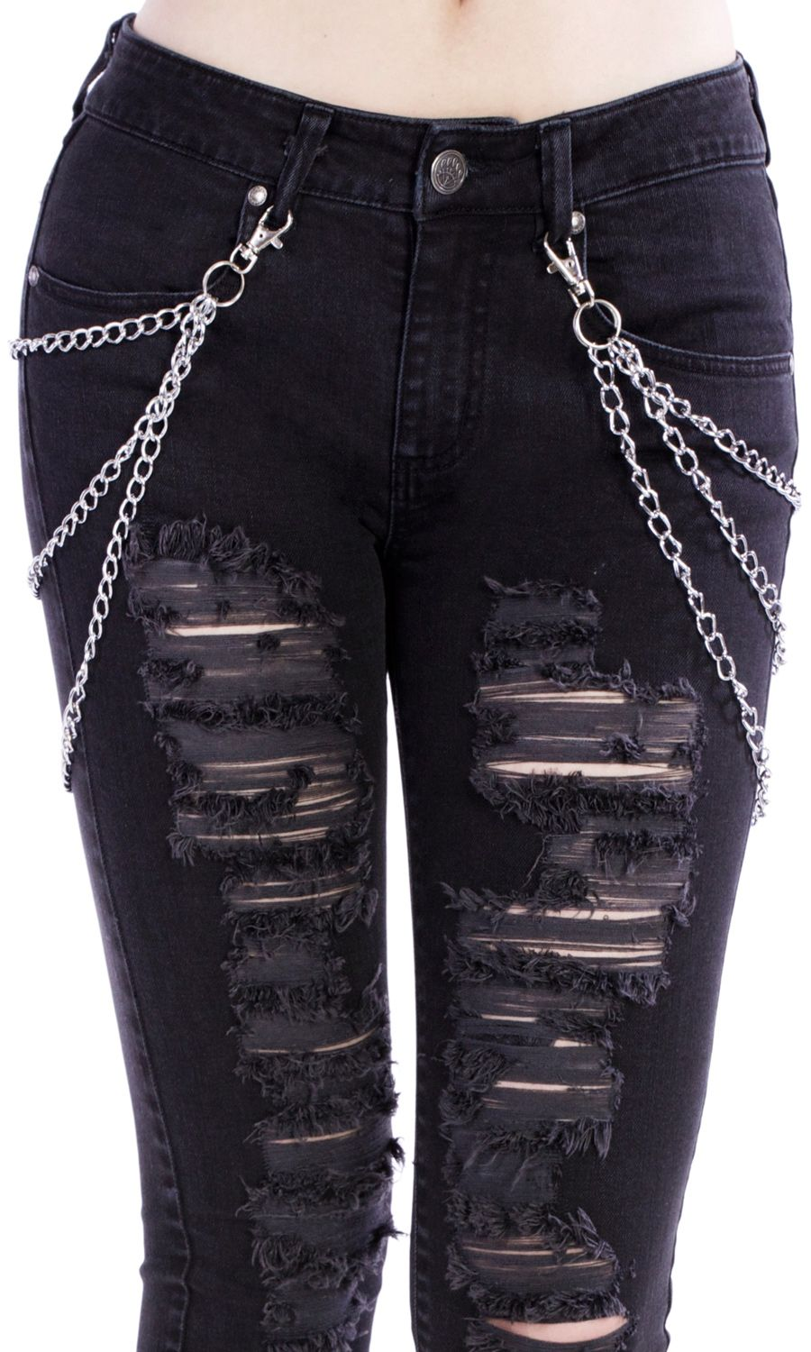 Silver metal jeans chains. 6 chains in total with clips. TAG YOUR ...