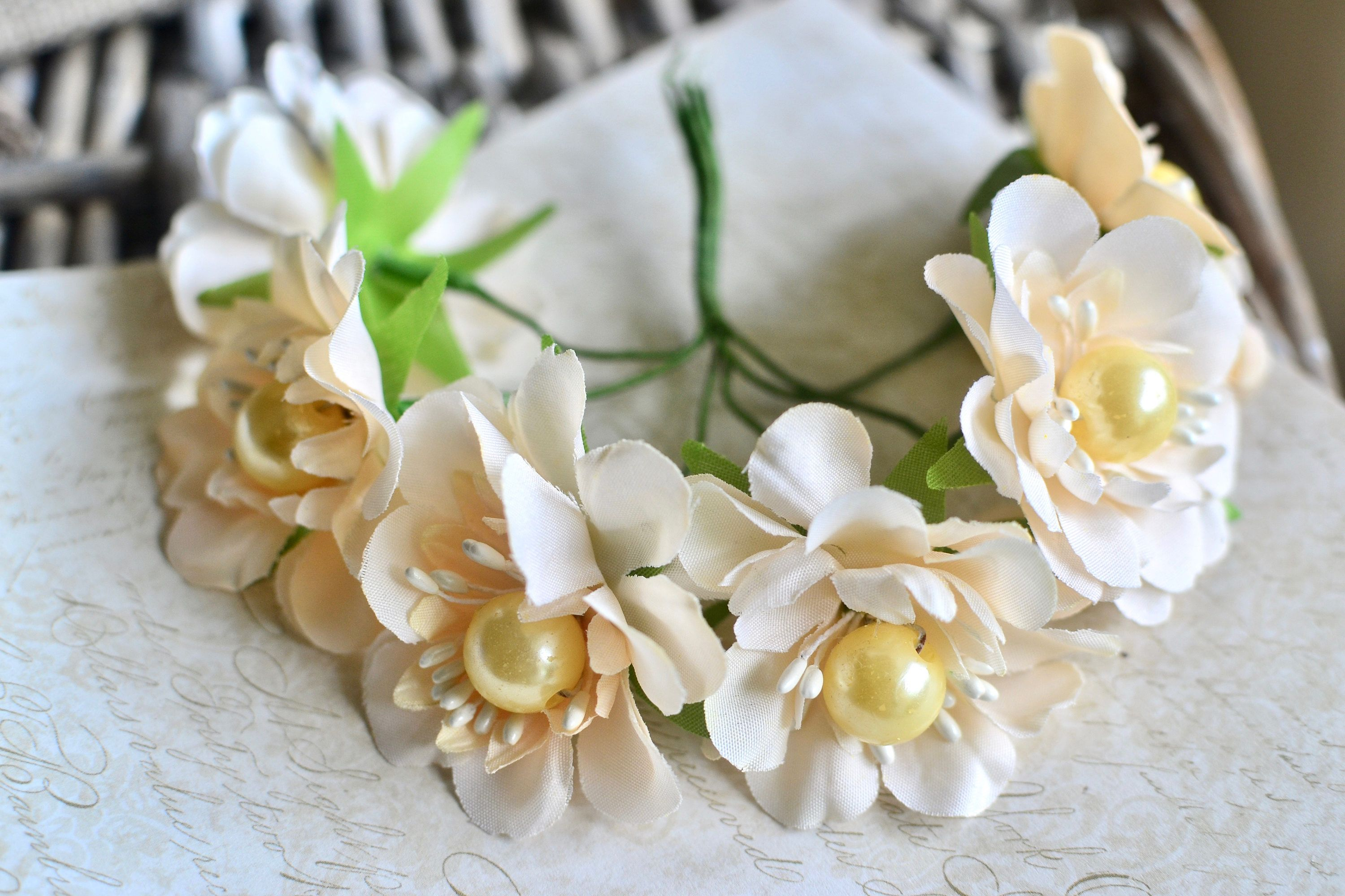 6 Pc Ivory Fabric Flowers Ivory Artificial Flowers Ivory Silk
