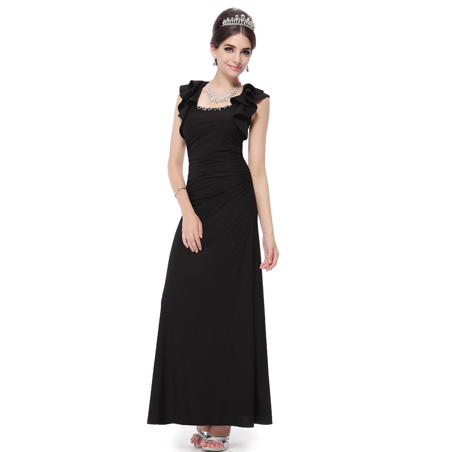 Nice awesome us women chiffon black formal evening party dresses