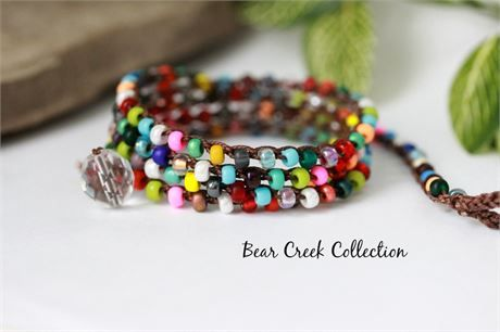 39 Inch LONG DOUBLE WRAP Bohemian Necklace HandcraftedColorful Bold Beaded Necklace =
