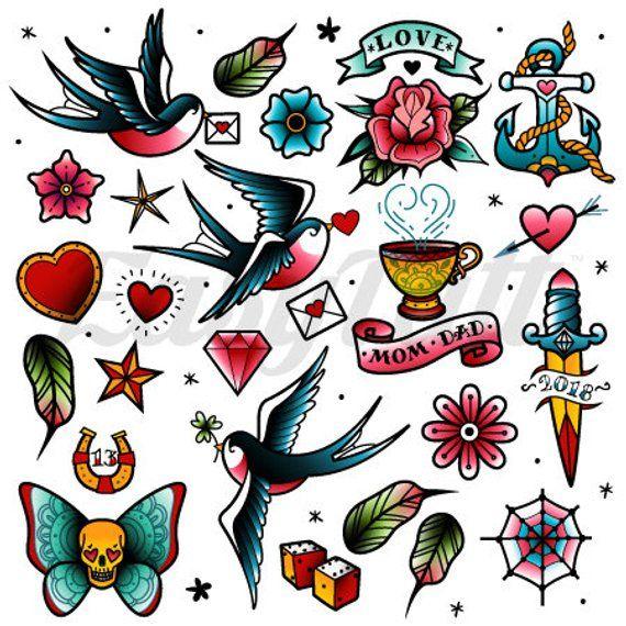 Traditional Retro Temporary Tattoos Traditional Temporary Tattoos Watercolour Temporary Tattoos Colourful Temporary Tattoos Fake Tattoos #setinstains