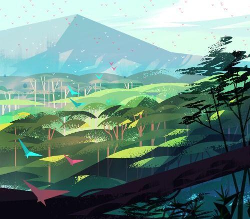 Pretty Landscape Mountains Birds Ilustraciones Ciudad Futurista Dibujos