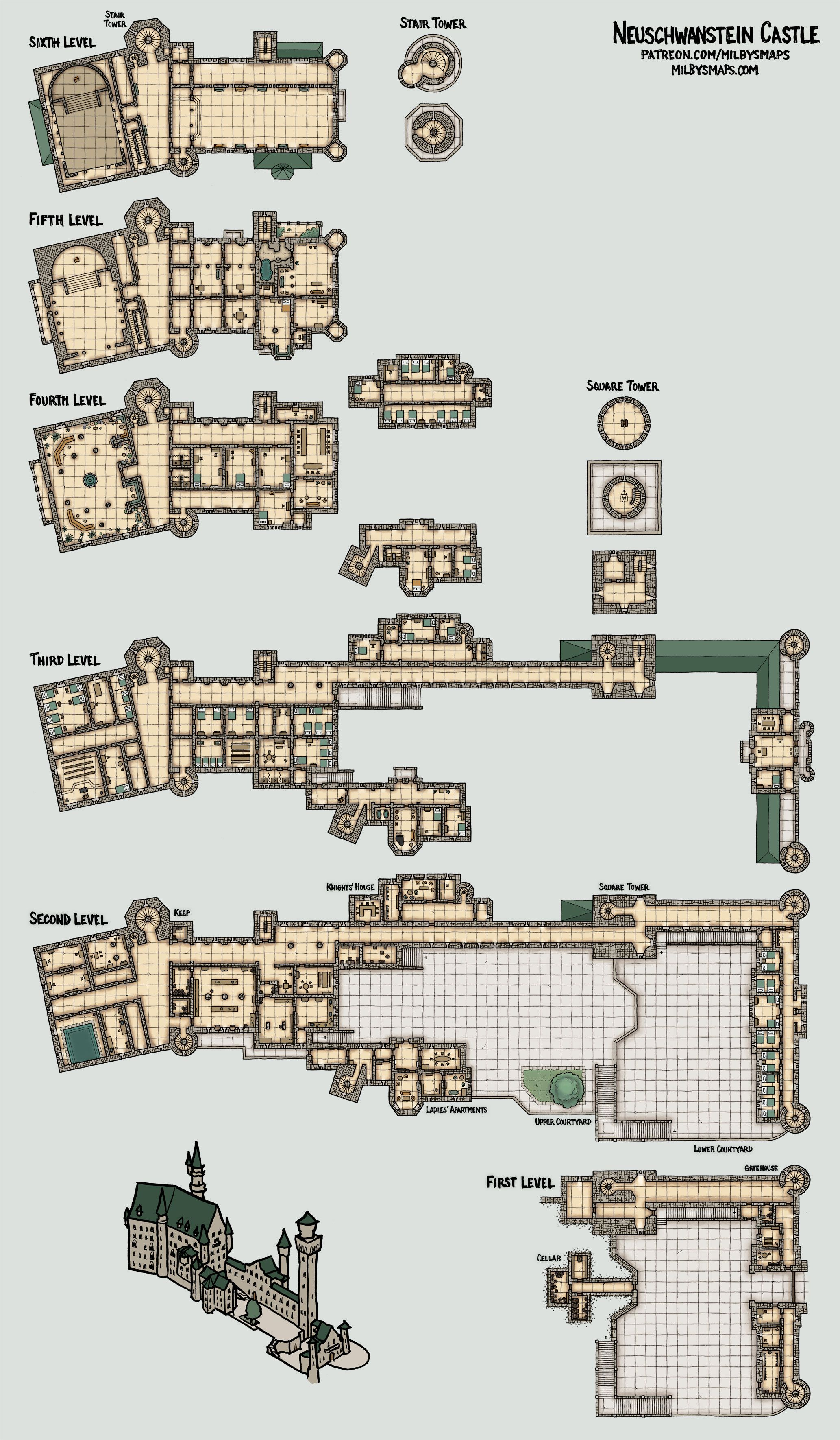 Neuschwanstein castle map by Milby's map Tabletop rpg