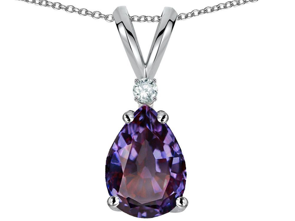 Star K Pear Shape 8x6 mm Simulated Alexandrite Pendant Necklace