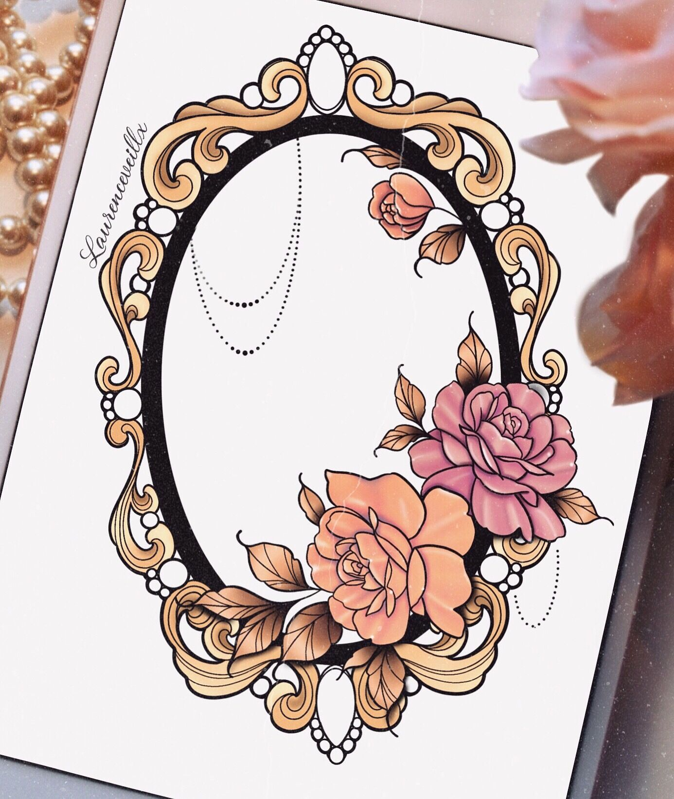 Mirror Roses Gold Flower Neotraditional Tattoo Design Ideas