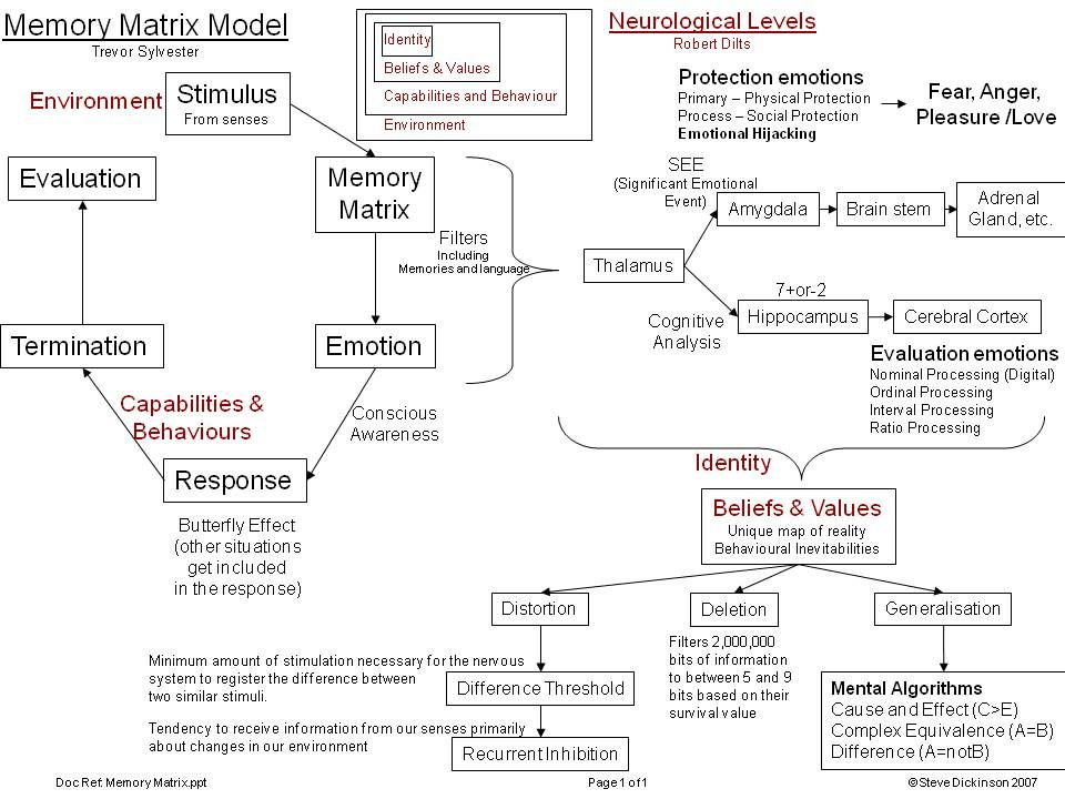 An early model I developed to learn about NLP.  Trevor Silvester's Memory Matrix and Robert Dilts's Neurological Levels.