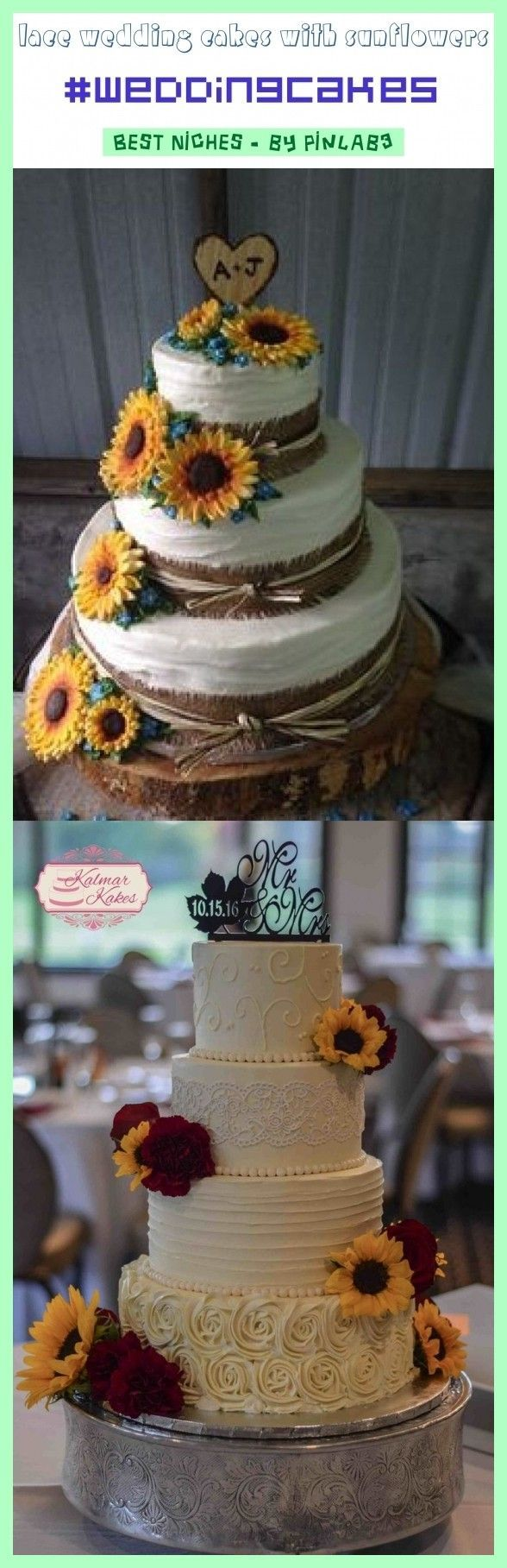 Lace wedding cakes with sunflowers #wedding #cakes #sunflowers #spitzehochzeitstorten #sonnenblumen #gâteaux #mariage #dentelle #tournesols Spitzehochzeitstorten mit Sonnenblumen ; gâteaux de mariage en dentelle avec tournesols ; pasteles de boda de encaje con girasoles ; lace wedding cakes vintage, lace wedding cakes with flowers, lace wedding cakes rustic, floral lace wedding cakes, lace wedding cakes elegant, gold lace wedding #rustic wedding cake sunflowers