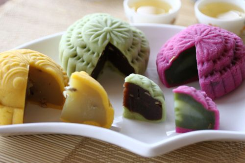 Snow skin mooncakes. I love the little ones filled with azuki bean paste that you can often find at Chinese grocers. Very good with a nice, savory green tea.