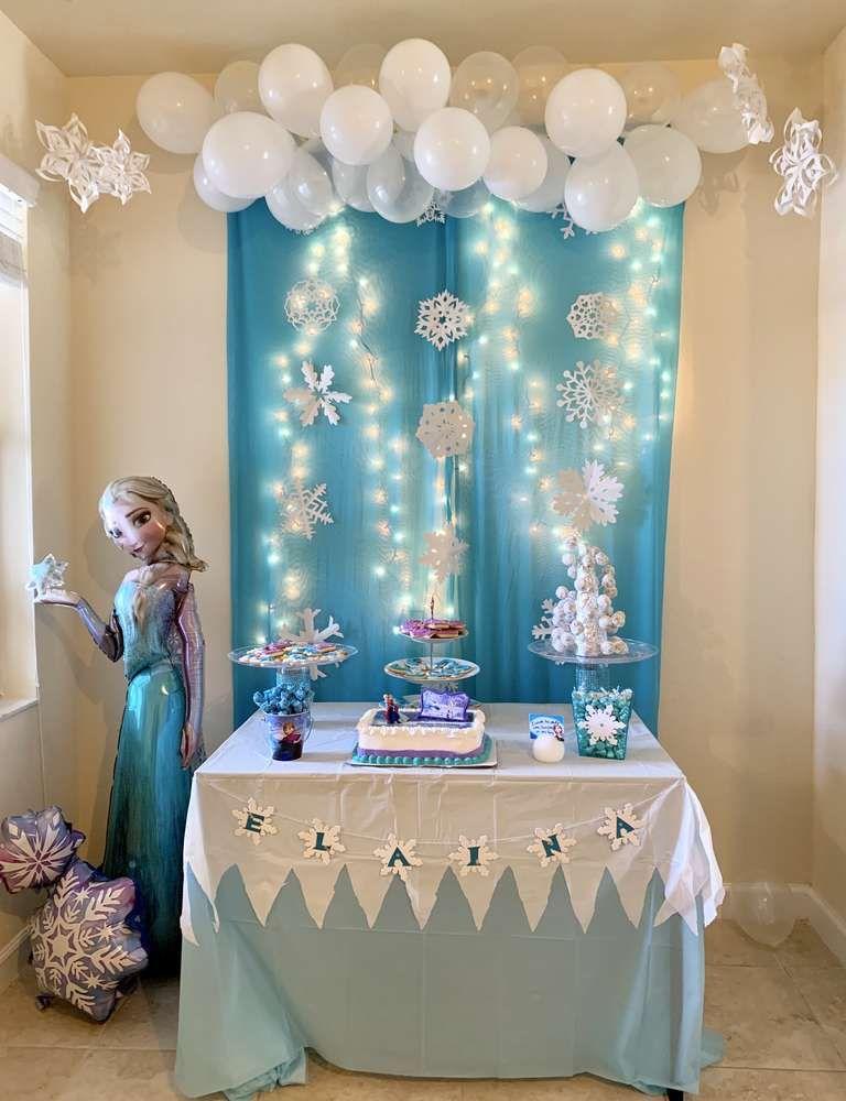 Frozen Disney Birthday Party Ideas Photo 2 Of 24 Elsa Birthday Party Frozen Themed Birthday Party Disney Birthday Party