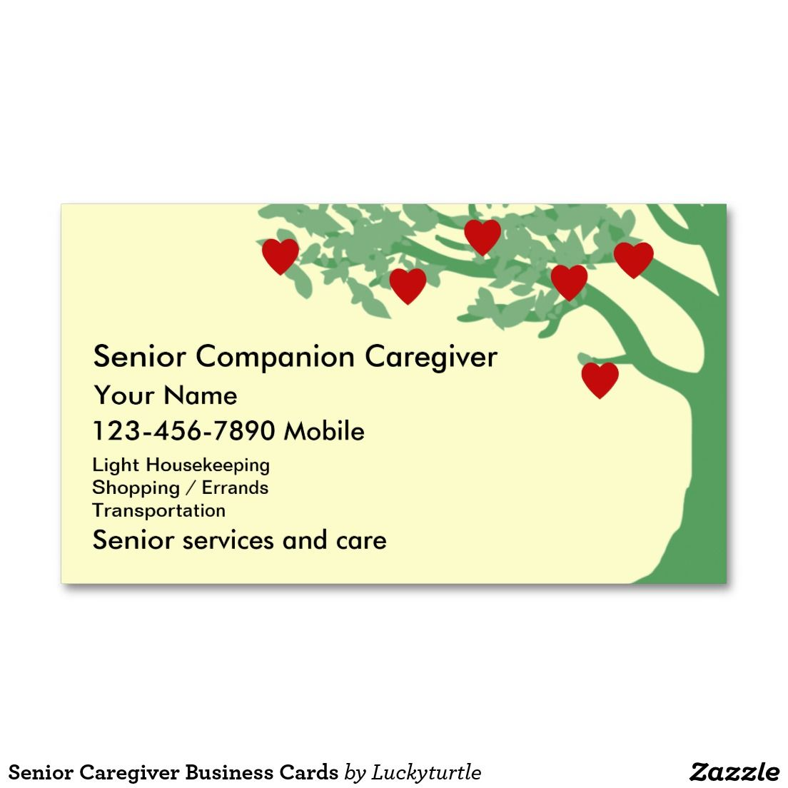 Senior Caregiver Business Cards | Medical Themed Business Cards ...