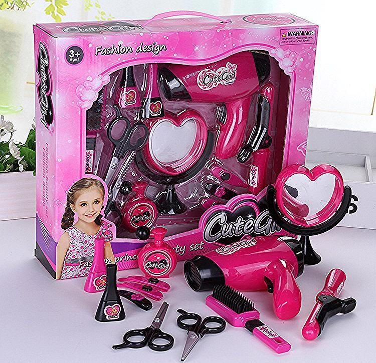 أطفال جمال لعب للتجميل التظاهر اللعب لعبة مجفف الشعر فرشاة للمكياج طقم هدايا الأطفال الفتيات عيد الميلاد لعب أطفال بنات في ألعاب ال Toy Car Fashion Design Toys