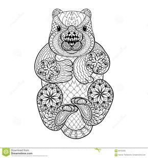 Coloriage Animaux Totem.Hand Drawn Tribal Wombat Animal Totem For Adult Coloring Download