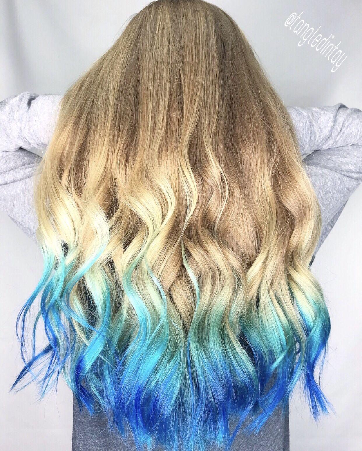 Mermaid Hair Bluehair Blue Ombre Colorombre Coloredhair Colorfulhair Fantasyhair Fantasycolors Hair Dye Tips Ombre Hair Blonde Colored Hair Tips