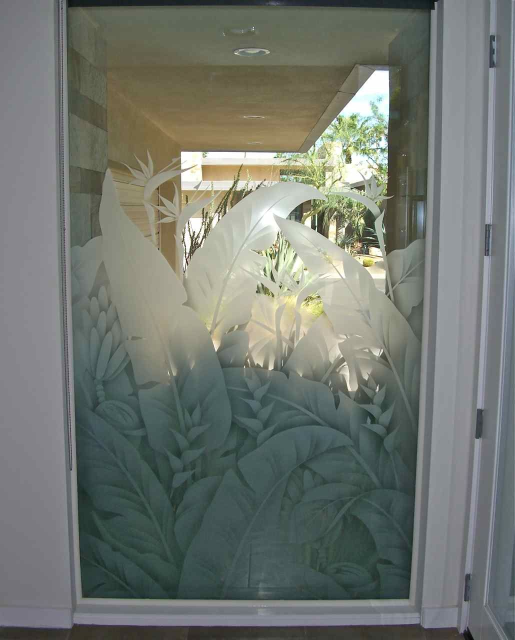 Etched Window Glass Let S Get Tropical Window Film Designs