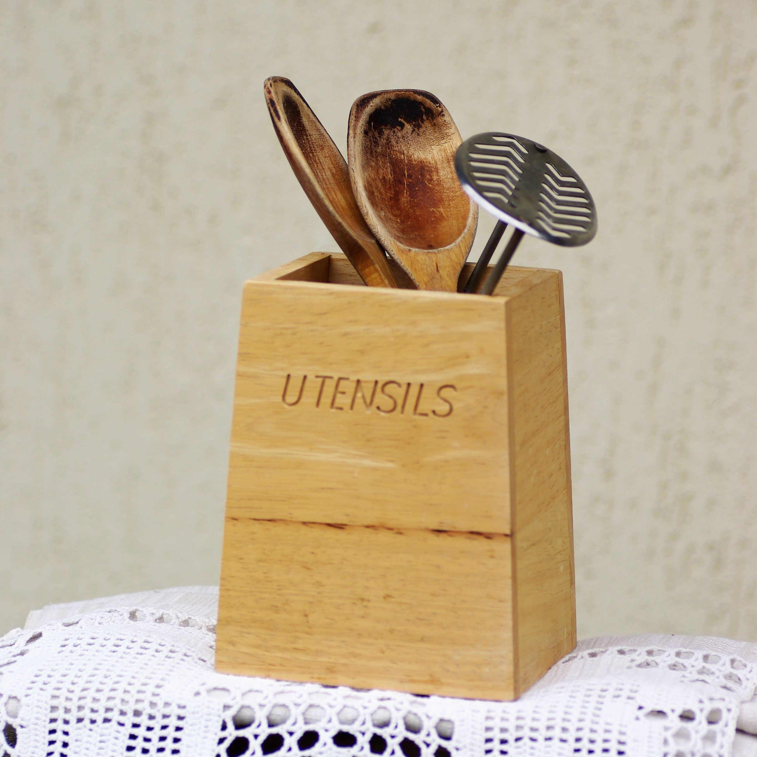 Utensils Holder Wood Kitchen Utensil Jar Rustic Wooden Box