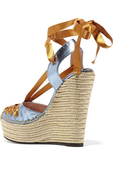 f8067d7df2930 Gucci - Metallic Leather And Satin Espadrille Wedge Sandals - Brass ...