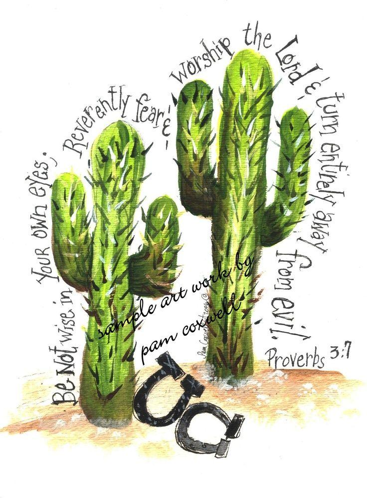 Western - Cactus Print | Bible Art | Cactus print, Bible verse