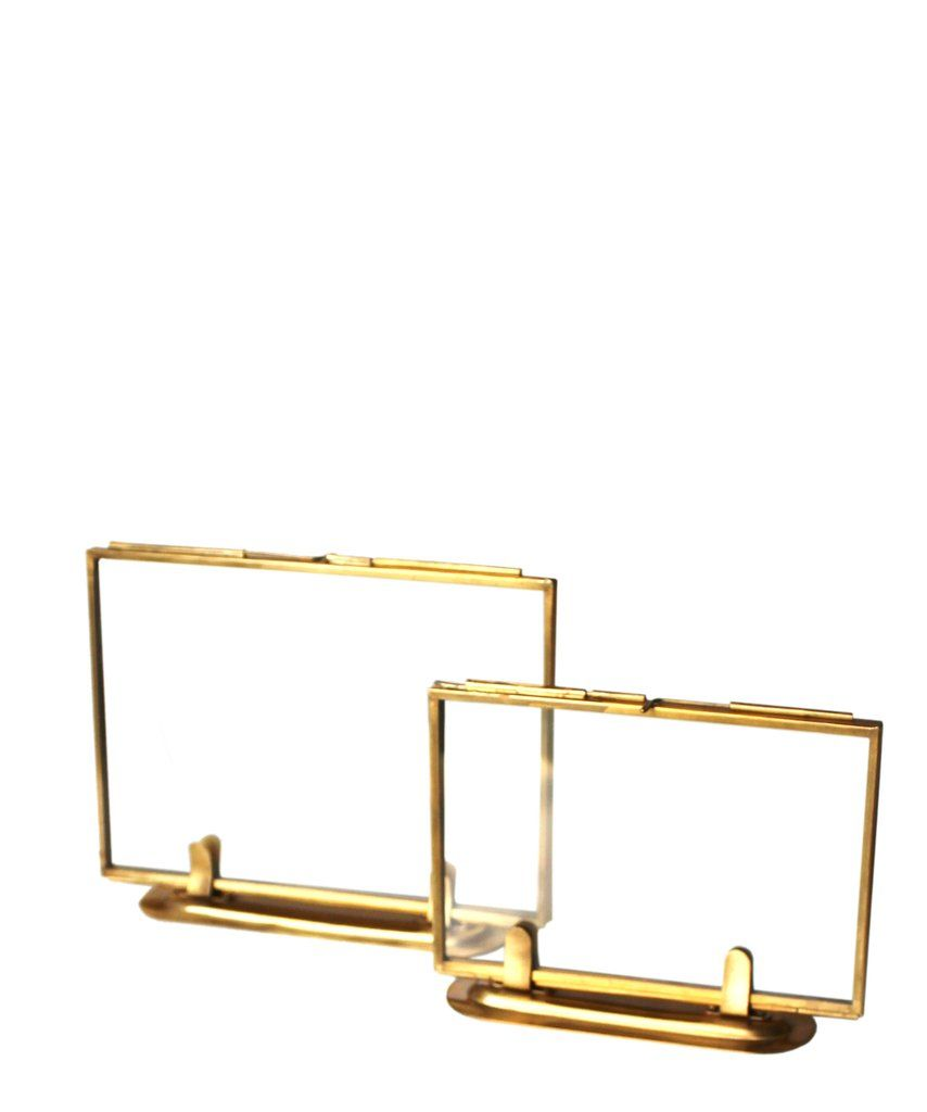 Double Sided Glass Picture Frames, Brass - metal and glass - mounts ...