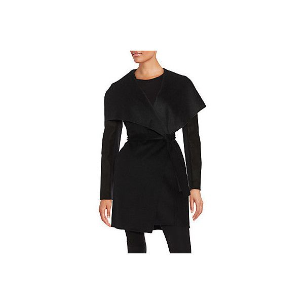 Vera Wang Leather Trim Wool Blend Wrap Coat (5 755 UAH) ❤ liked on Polyvore featuring outerwear, coats, black, leather trim coat, shawl collar coat, wool blend wrap coat, wool blend coat and vera wang