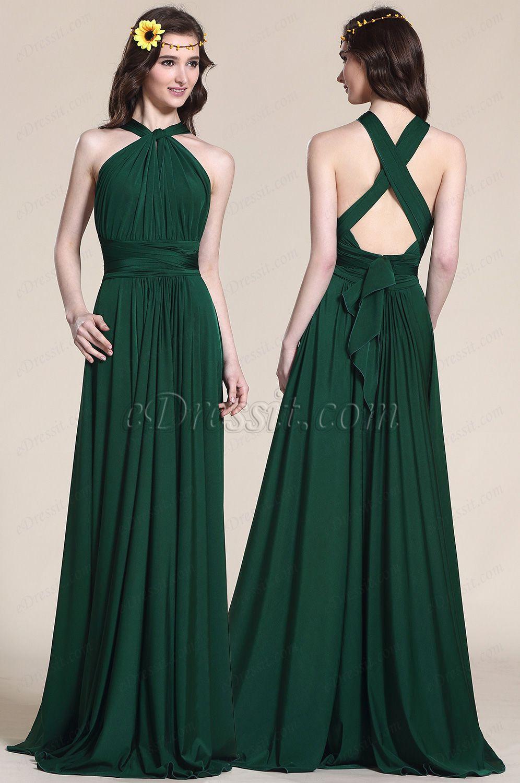 Convertible Dark Green Bridesmaid Dress Evening Gown (07154704) Emerald  Bridesmaid Dresses 54323aa01bd5