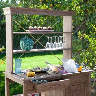 potting bench as buffet.....yes please.