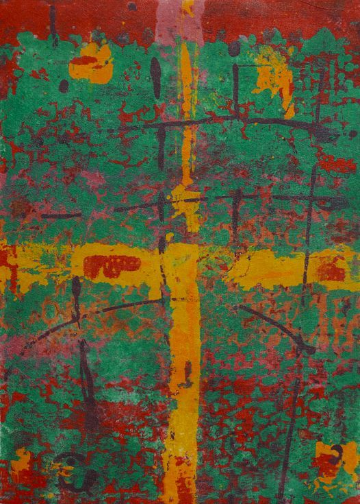 ARTFINDER: Crossroads by Joanne  Donnelly - Crossroads is a clay monotype. A clay monotype is a process where colored clay slip permeates a polyester fabric called Reemay. Each pull of the print create...