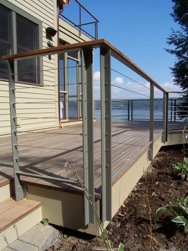 Cable Deck Railing Systems At Lowes Residential Exterior Cable Railings And Stair Construction Proj In 2020 Building A Deck Cable Railing Deck Metal Deck Railing