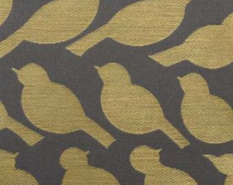 Bird Fabric Grey Yellow Upholstery Fabric By The Yard Modern Animal Fabric Bird
