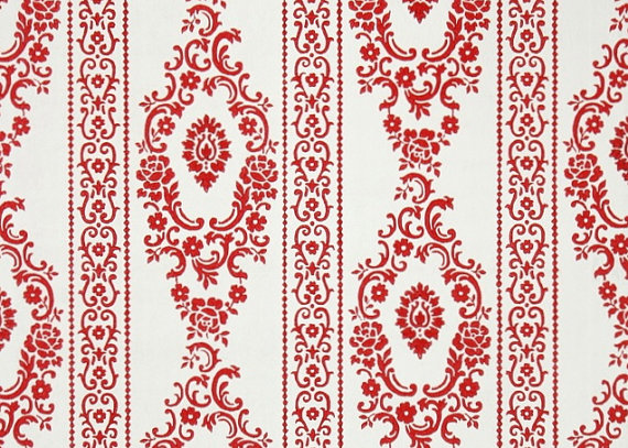 1950s Vintage Wallpaper By The Yard Red And White Damask Floral