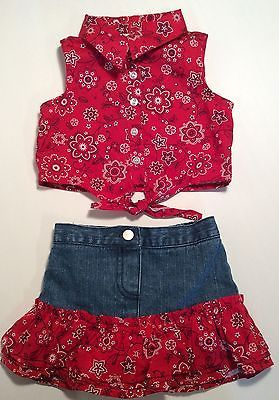b32621f2603b2 Outfit Baby 6 9 Girls Summer Infant Red Denim Jean Bandana Skirt ...