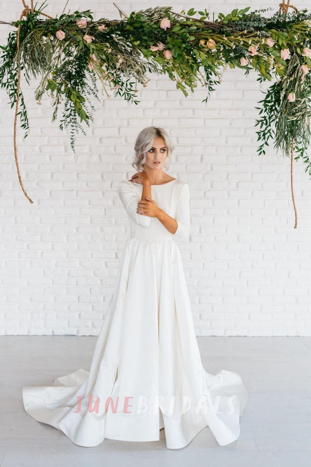 Modern simple long sleeve aline satin wedding dress with open back