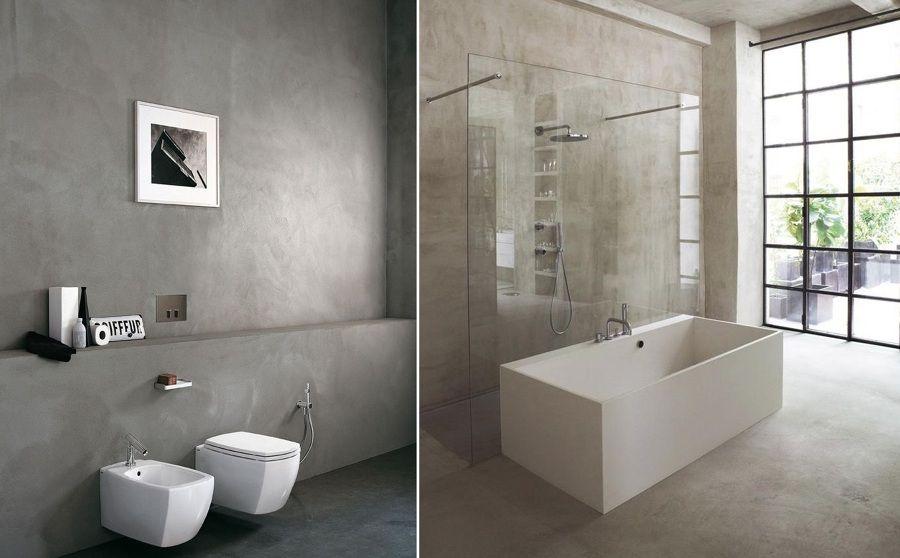 paredes cemento con bañera blanca Bathroom Light Pinterest - paredes de cemento